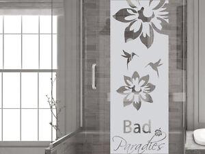 glasdekor folie fensterdekor f r badezimmer spruch bad paradies blumen ebay. Black Bedroom Furniture Sets. Home Design Ideas