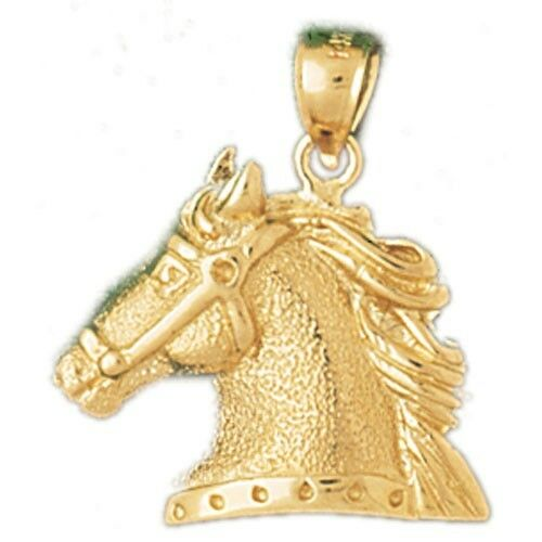 NEW 14k YELLOW gold HORSE HEAD CHARM PENDANT JEWELRY