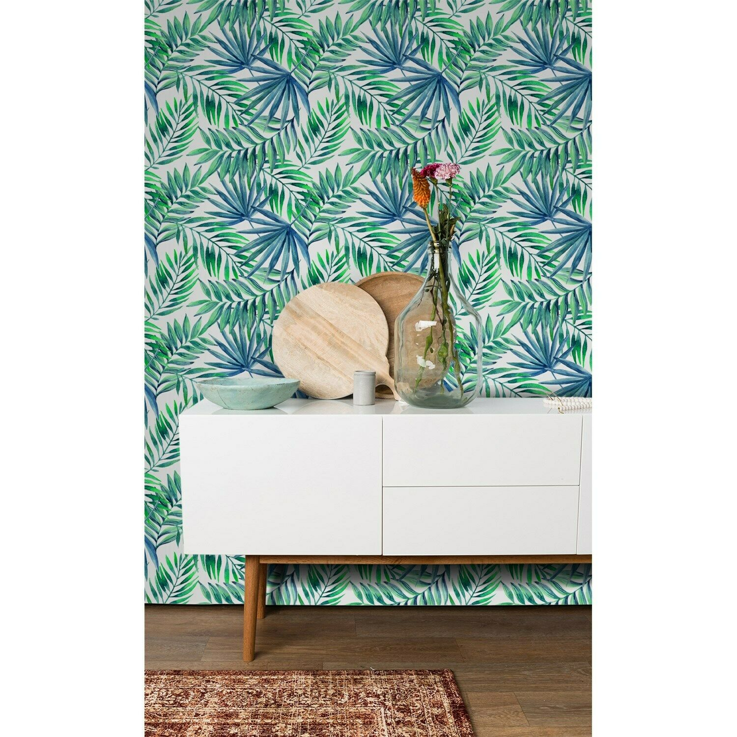 Non-Woven wallpaper Palm leaves pattern Home Mural Exotic Tropical WaterFarbe