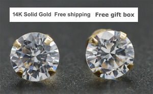 14K-Solid-Yellow-Gold-Round-Created-Diamond-Stud-Earrings-sizes-4-10MM