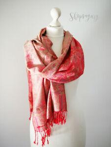Vintage-Fleurs-echarpe-Foulard-Cape-echarpe-coton-rayonne-scarf-foulard-rouge-pink