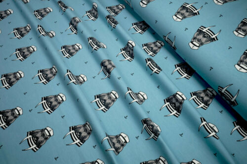 BioCotton French Terry Knit Fabric Sea /& Air Captain Walrus on dream blue 0.54yd