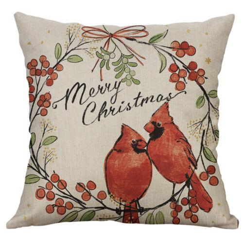 """18/"""" Christmas Dog Print Cotton Linen pillow case Sofa Home Decor Cushion Cover"""
