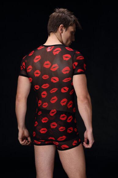 T-shirt Talla Talla Talla M/L Negro transparent motif bisous sexy sheer ™:S50 neofan 2f0b41