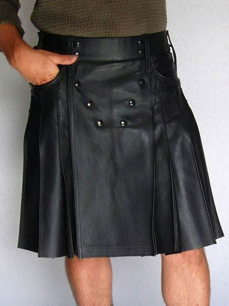 Mens Genuine Leather Side Laced Kilt  Choice of Length & Sizes