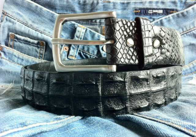 EXTREME BLACK CROCODILE ALLIGATOR LEATHER MENS BELT