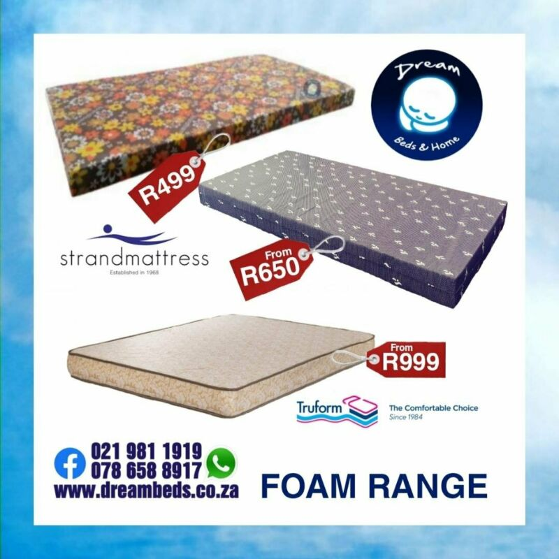 MATTRESS from R499 and BEDS from R1899 - Strandfoam and Truform Quality Brands