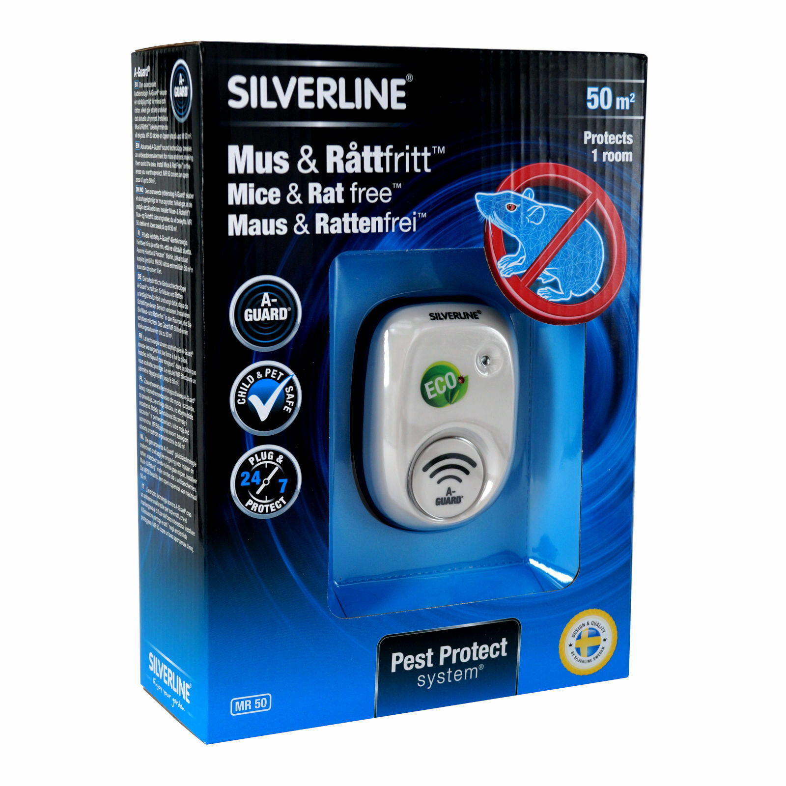 Silverline Mouse & Rat Free 50 M ² MR50 Ultras Sound Control Defence Protection