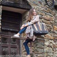Zara Jute Leather Ethnic Shopper Shoulder Bag Beach Bag Size Large