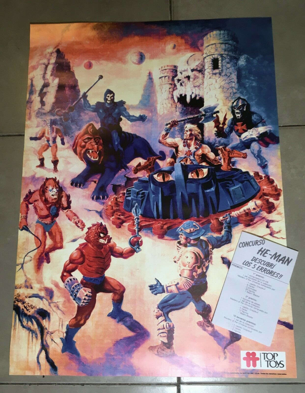 Ultra rare Masters of the Universe repro poster Top giocattoli gioco of errors