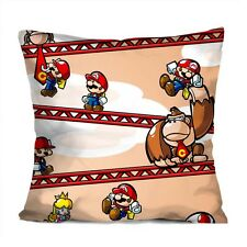 "MARIO VS DONKY KONG Decorative Throw Pillow Case Cushion 18"" Zippered Cover"