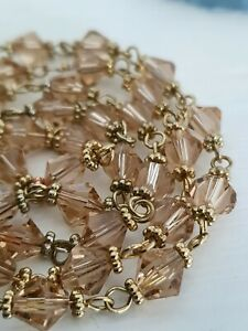 Vintage-Long-Champagne-Bicone-Faceted-Glass-Bead-Necklace