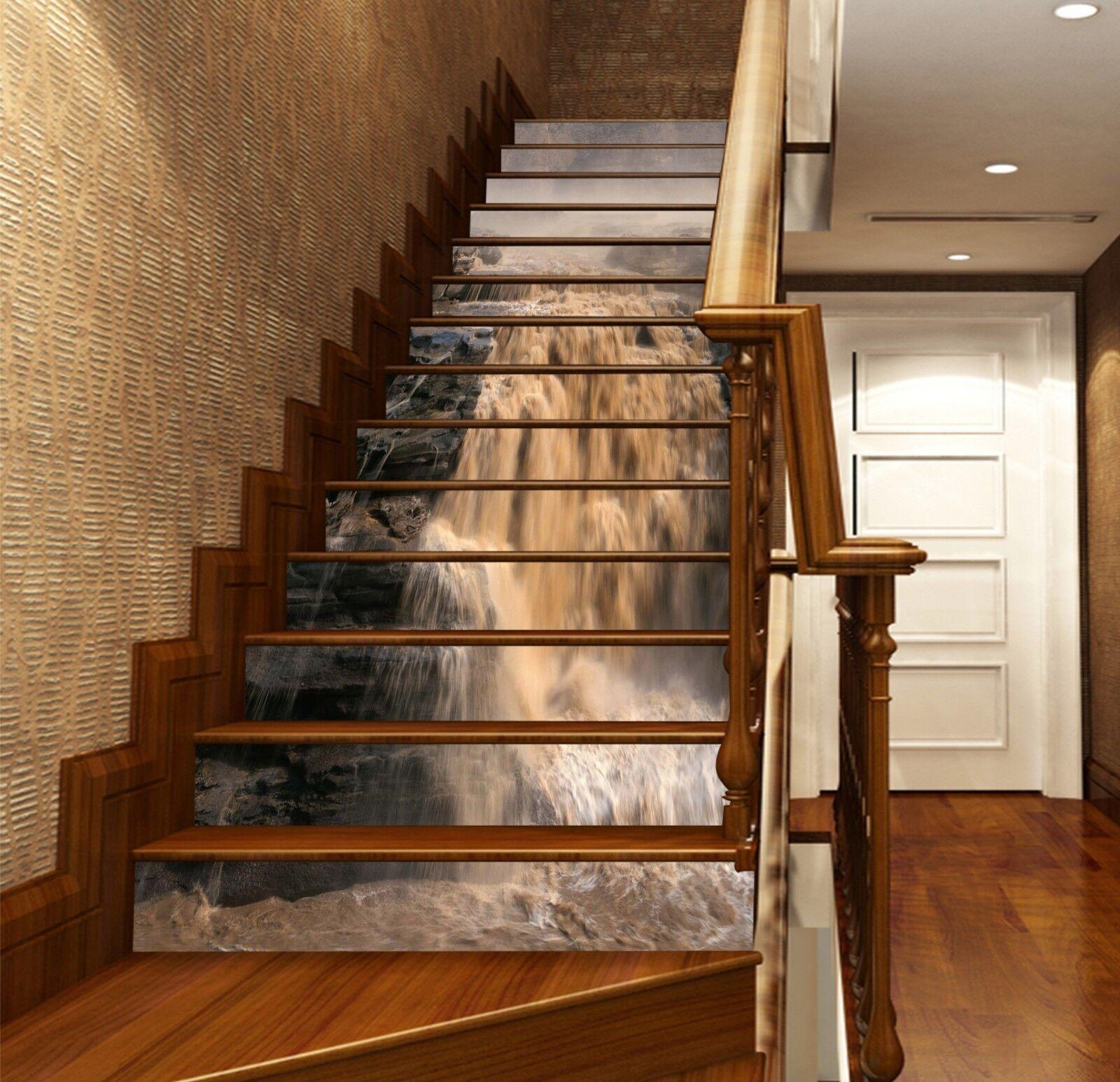 3D Waterfall 7 Stair Risers Decoration Photo Mural Vinyl Decal Wallpaper UK
