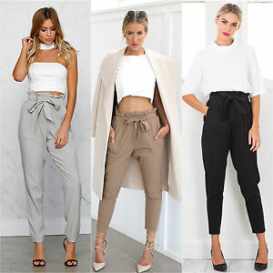 Womens-Tie-Waist-Paper-Bag-Cigarette-Pants-Harem-Baggy-Casual-Trousers-Leggings
