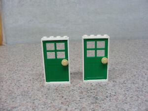 2 LEGO Door Frames White Frame Green 4 Pane Window Door 60623