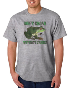 54cb0cd1 Gildan Short Sleeve T-shirt Christian Frog Don't Croak Without Jesus ...