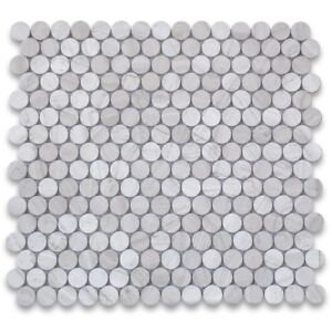 Details About W93xp White Wood Grain 3 4 Inch Penny Round Mosaic Tile Polished