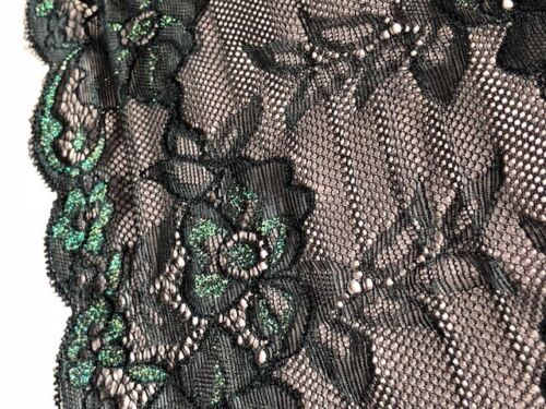 "laverslace Black Iridescent Green Floral Wide Stretch Tulle Lace Trim 7/""//18cm"