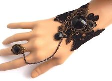 BLACK HEART SLAVE BRACELET gothic lolita lace bronze cuff & ring steampunk N6