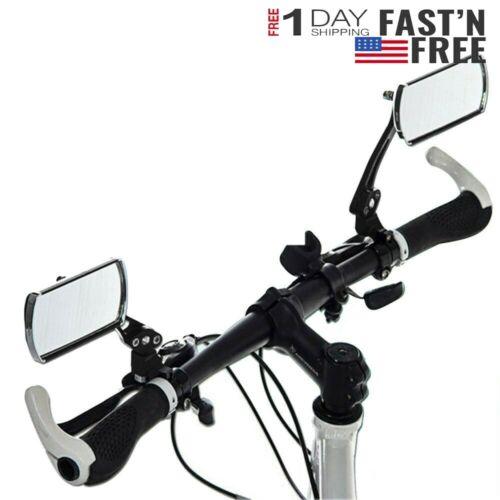 2PCS Bike Bicycle Mirror Glass  MTB Cycling Rear View Handlebar End Rear Back US