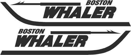 2 Boston Whaler Boats LARGE BLACK Decal Sticker Emblem Yacht Skipper Fishing