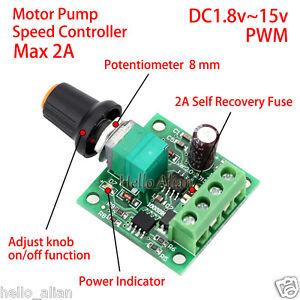 Details about Low Voltage DC 3V 5V 6V 9V 12V 2A PWM DC Motor Pump Speed  Controller Regulator