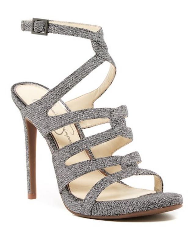 Jessica Simpson Womens Silver Reyse High Heel Sandal Sz 8.5 2209