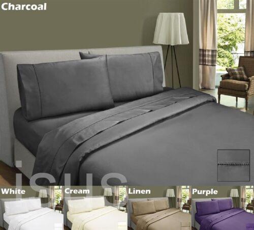 40cm DEEP WALL 100/% Egyptian Cotton Sateen Sheet Set 500TC QUEEN KING 5 colour