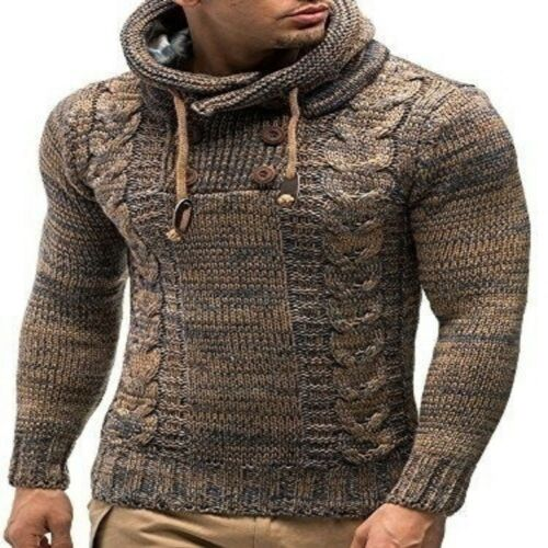 Men/'s Winter Drawstring Half Buttons Knitted Long Sleeve Hooded Pullover Sweater