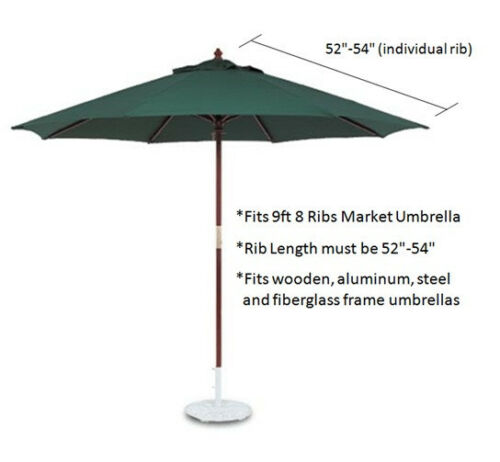 Double Vented 9ft Replacement Umbrella Canopy 8 Ribs in Hunter Canopy Only