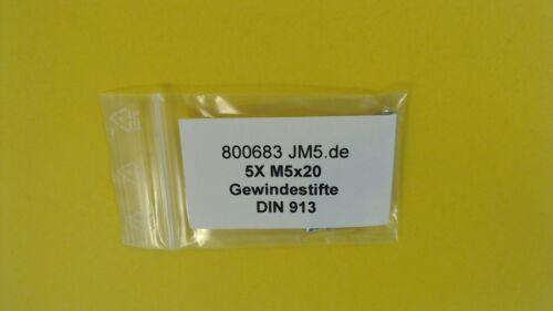 5X Gewindestifte M5x20 Kegelstumpf 45H DIN 913 ISO 4026 Madenschrauben verzinkt