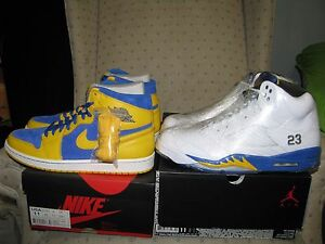 best sneakers bf96e f9628 Details about 2 PAIRS NIKE AIR JORDAN RETRO 5 AND RETRO 1 LANEY Varsity  Maize yellow Blue S 11