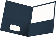 Oxford Twin Pocket Folders Textured Paper Letter Size Dark Blue Holds 100 Of
