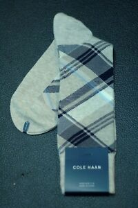 Cole-Haan-Men-039-s-Beige-Navy-Check-Dress-Casual-Socks-7-12-New