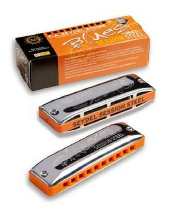NEW SEYDEL 10306 blueES SESSION STEEL PADDY RICHTER HARMONICA  KEY A & FREE HARP