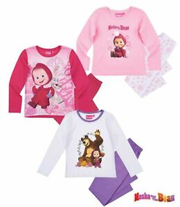 148cf6b4ab Das Bild wird geladen Mascha-und-der-Baer-Maedchen-Pyjama-Schlafanzug-98-