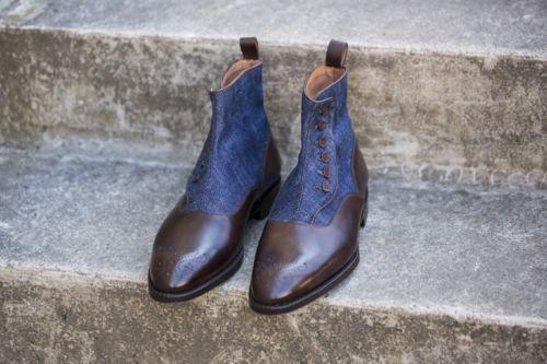 MENS NUOVE zapatos DI PELLE DENIM DI ORIGINE ARTIGIANALE FATTE botas DI PELLE
