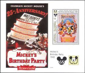 Antigua-1993-Disney-Topolino-65th-Film-Cartoni-Animati-Animazione-1v-M-S-b3123k