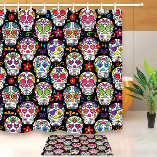 Bathroom Mat Shower Curtain /& Hook Waterproof Fabric Day of the Dead Sugar Skull