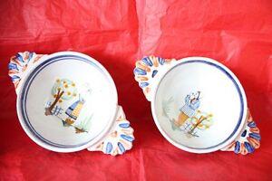 2 Anciens Bols V.b. Verlingue Et BerniÈres , Normandie , Old Bowls Normandy Lissage De La Circulation Et Des Douleurs D'ArrêT