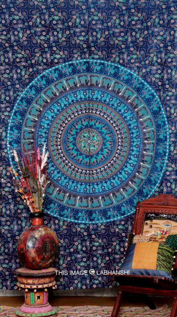 Twin Indian Mandala Tapestry Hippy Bedspread Wall Hanging Table cover Boho Decor