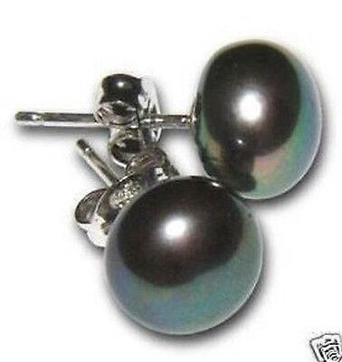 Genuine 7-8MM freshwater pearl Earring Sterling silver Stud Christmas Gift