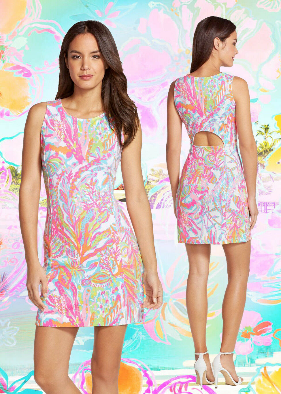 355eca1edb Lilly Pulitzer Whiting Scuba To Cuba French Terry Cut Out Shift Dress M
