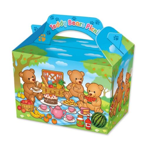 12 Teddy Bears Garden Picnic Birthday Party Boxes ~ Childrens Fun Food Meal Box