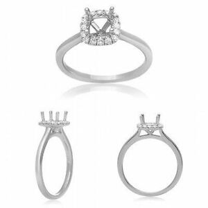 14K White Gold Engagement Ring with 0.11 Carat Diamonds for 0.5 Carat Cushion