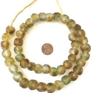 14mm-Ghana-Brown-multi-Colored-Krobo-recycled-Glass-African-trade-Beads-Ghana