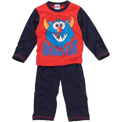 Bedlam jeunes garçons visage Monstre Mignon manches longues pyjamas coton jambe bleu marine rouge
