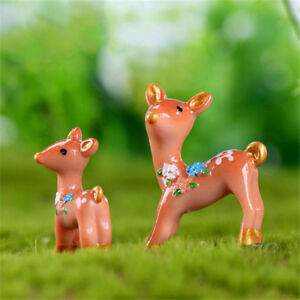 2Pcs-Lovely-deers-Miniatures-For-Fairy-Garden-Gnomes-Moss-Terrariums-CA