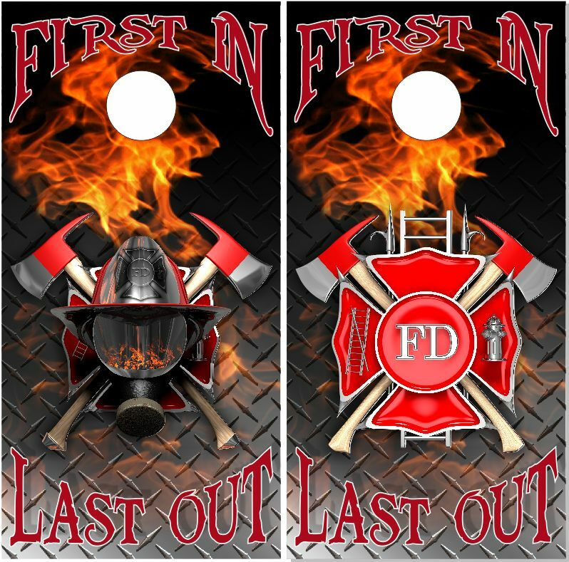 Firefighter First In Last Out LAMINATED Cornhole  Wrap Bag Toss Skin Decal  best sale