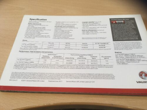 Sales Brochure 6 Pages VM1109472 VAUXHALL MERIVA LIMITED EDITION 2011 MODELS